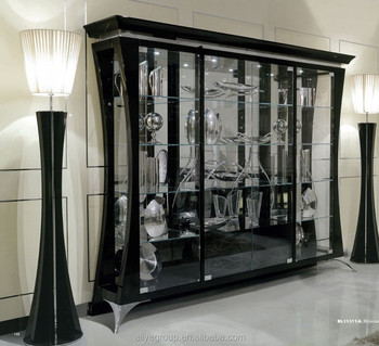 BL11311A Neo Classical Showcase With Four Doors Luxury European Style Wine  Glass Display Cabinet