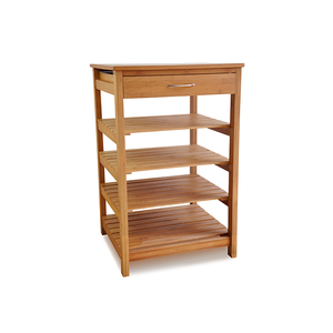 5-Tiered bamboo Storage Basket Shelves Free Standing bamboo bathroom shelf