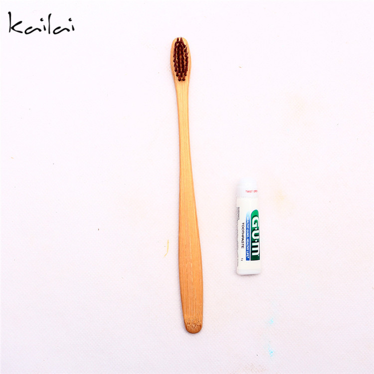 Disposable travel natural bamboo wooden toothbrush