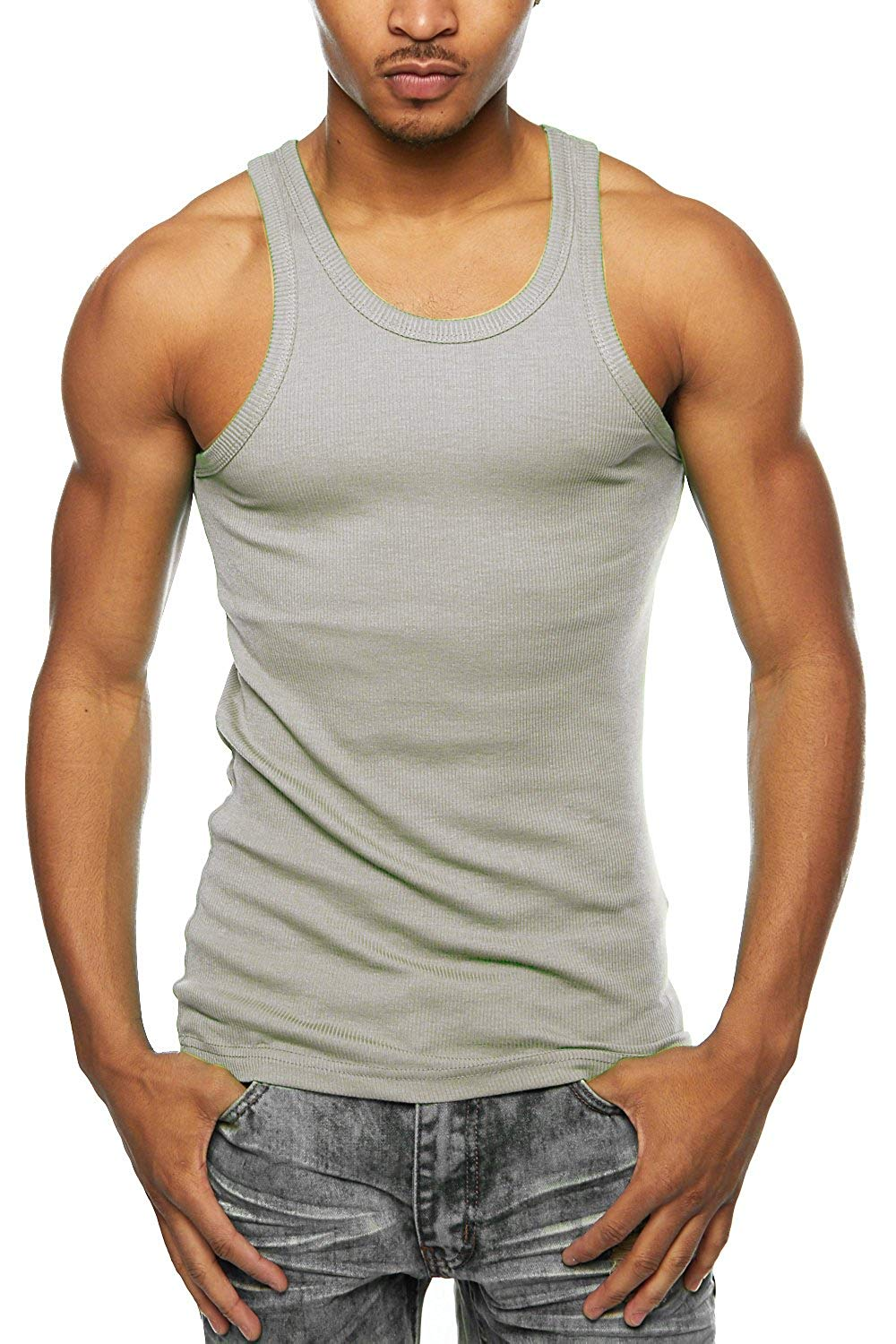 e62b9abbcf4a Get Quotations · Mens 3 Pcs Pack 100% Cotton Muscle A-Shirt Ribbed  Undershirt 388T