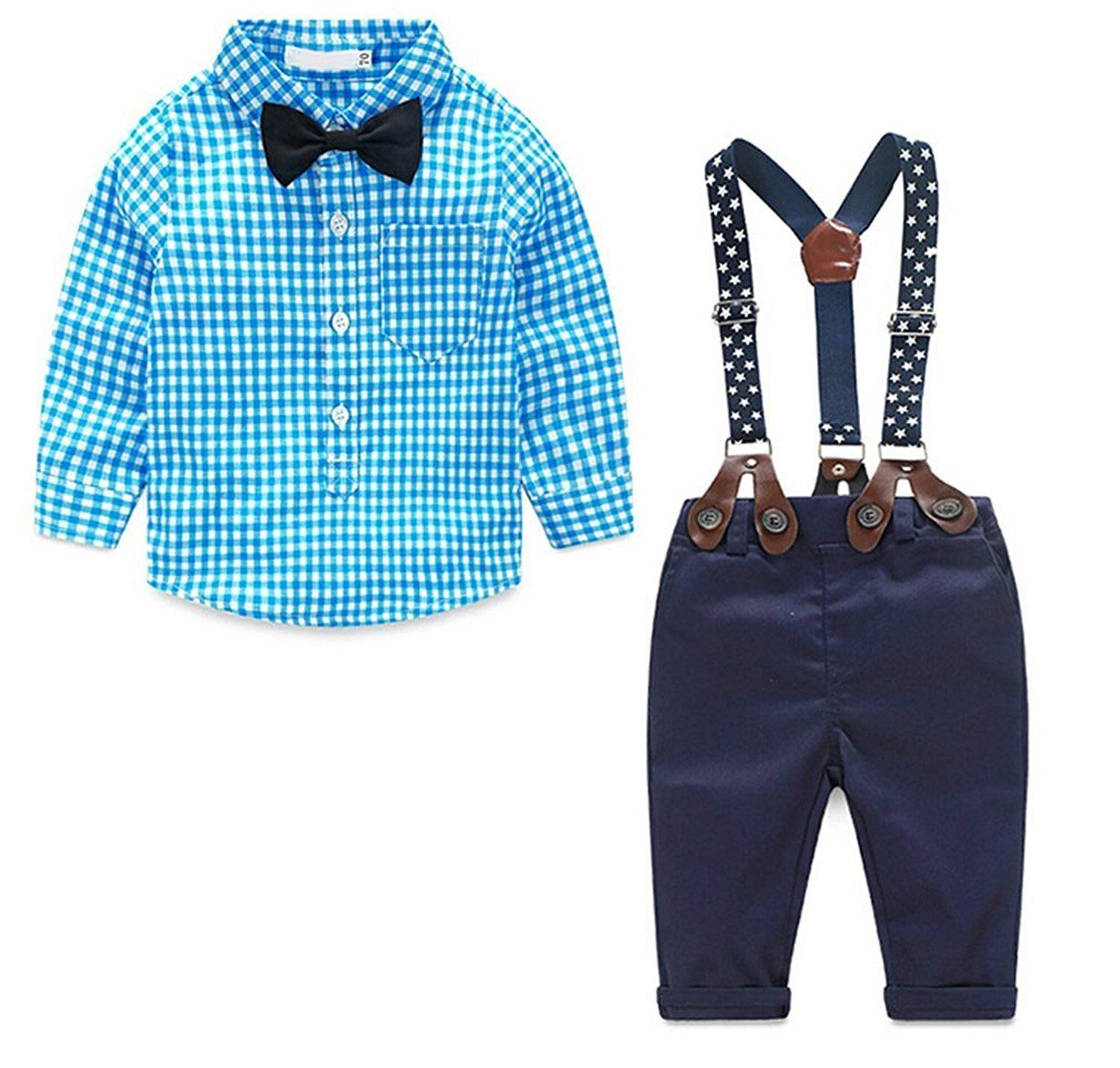 8467f906c350e Get Quotations · Baby Boys Gentleman Long Sleeve Plaid Shirt and Suspender Pants  Set
