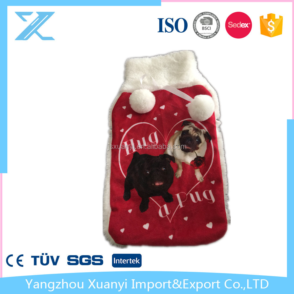 fashion super soft printed fabric cover with rubber and PVC hot water bottle/bag for Christmas