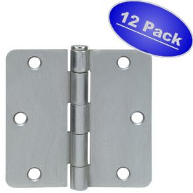 "Cosmas Satin Nickel Door Hinge 3.5"" Inch x 3.5"" Inch with 1/4"" Inch Radius Corners - 12 Pack"
