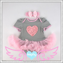 Newborn Infant Baby Girl gray Outfit Christmas Romper Tutu Dress Headband 2PC set
