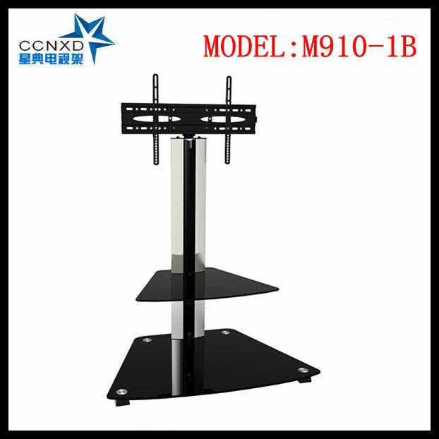 "fit 32-46"" tvs size,black aluminum tube and 2-shelf tempered glass Tv floor stand/ Tv mounts"