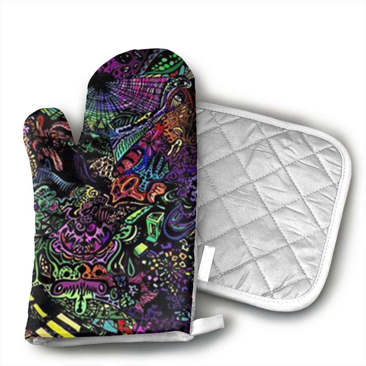 3D Wallpapers Oven Mitts Kitchen Gloves and Pot Holders 2pcs for Kitchen Set with Cotton Neoprene Silicone Non-Slip Grip,Heat Resistant,Oven Gloves for BBQ Cooking Baking Grilling