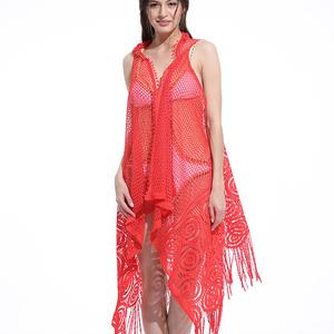 a7be8445151 Women's Floral Sheer Crochet Lace Beachwear Top Cover-ups Sleeveless Kimono  Cardigan Swimwear
