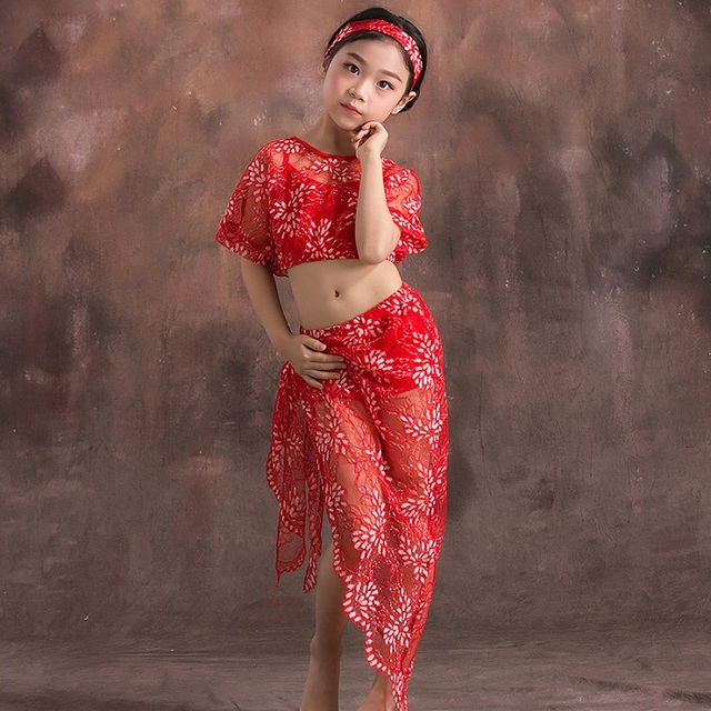 3dcee03eedfe Bambini Ragazze Costumi di Danza Del Ventre Pizzo Modale Oriental Outfit  Top E Gonne Per Bambini