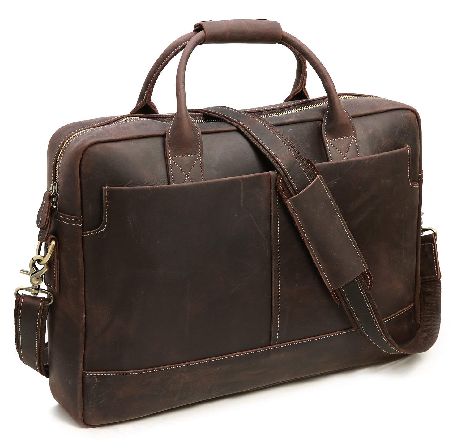 0118a4cbd1b8 Get Quotations · Iswee Men Leather Messenger Bag Laptop Briefcase Vintage  Handbag Attache Case (Large Dark Brown)