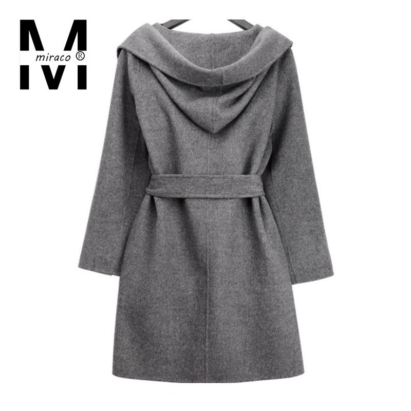 Miraco европейский 2015 новинка марка дизайн женщины ожидание пояса элегантный серый шерсть длинное пальто дамы офис толстовка верхней одежды