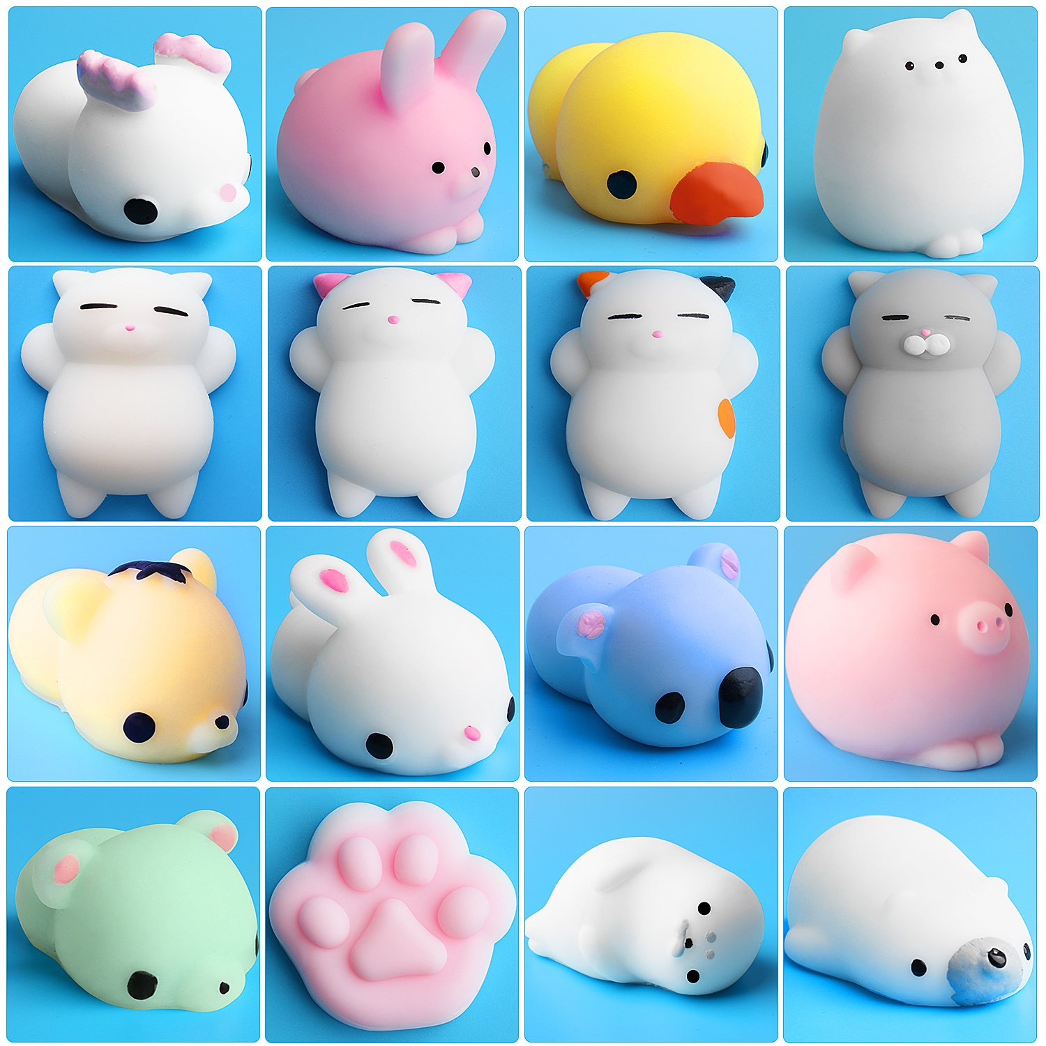 Mini Squishies Kawaii, Outee 16 Pcs Mochi Animals Squishy Toys Kawaii Squishies Mochi Squishy Kawaii Cat Stress Relief Squishy Mochi Toys Stress Animals Mochi Cat Squishy Stress Toys with Felt Bag