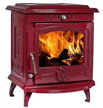 Red Enamel Cast Iron Wood Burning Stove With Boiler Made In China For