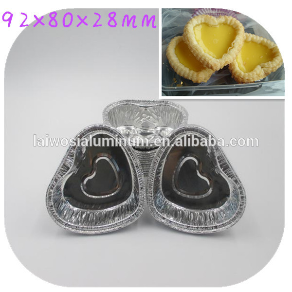 2015 hot sale disposable heart shape bakery aluminium foil container