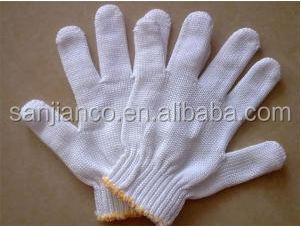 Hot selling fire retardant white cotton glove cotton knitted safety glove for workers 6116920000