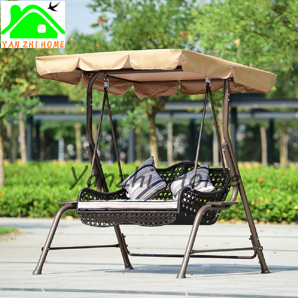 Gartenbett metall  Factory Direct Sale Double Seat Pe Rattan Metal Frame White Color ...