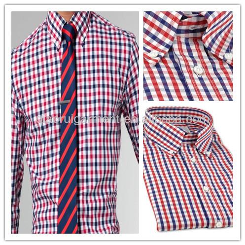 6200259827 los hombres de primavera de alta calidad de color rojo y azul de algodón a  cuadros