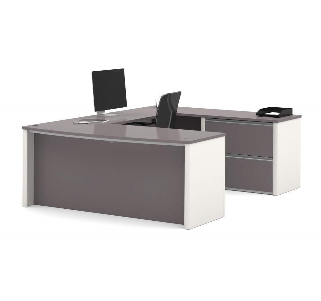 "Bestar U Shaped Desk 71.1""W X 96.5""D X 30.4""H Durable 1"" (25,4Mm) Commercial Grade Work Surface W/Melamine Finish Deluxe 2.5Mm Pvc Edges - Slate & Sandstone"