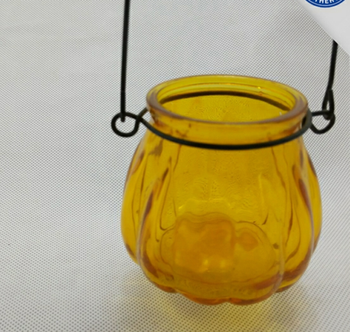 painted pumpkin shape glass jar, decorative glass candle holder