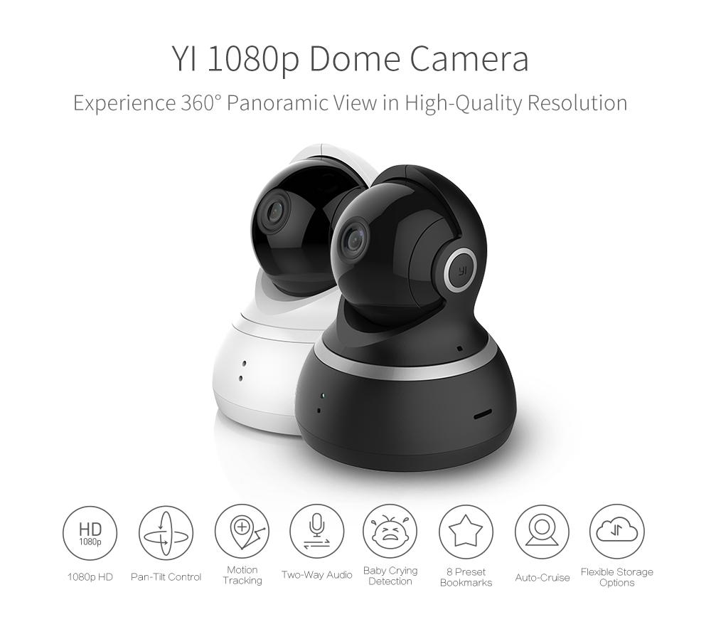 [International Edition] Xiaoyi Yi 1080P Dome Camera XIAOMI YI Dome IP  Camera Pan-Tilt Control 112 Wide Angle 360 Degree Webcam