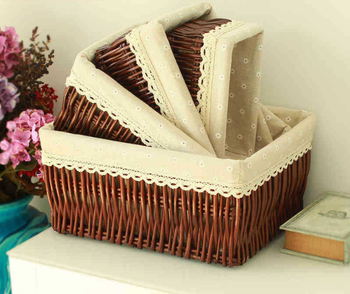 Round Corner Wicker Storage Baskets