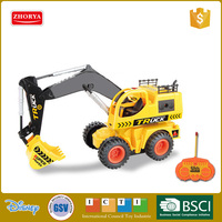 HQ 2 language packaging 5 channel rc engineering digger remote control emluator construction car with light & rotation