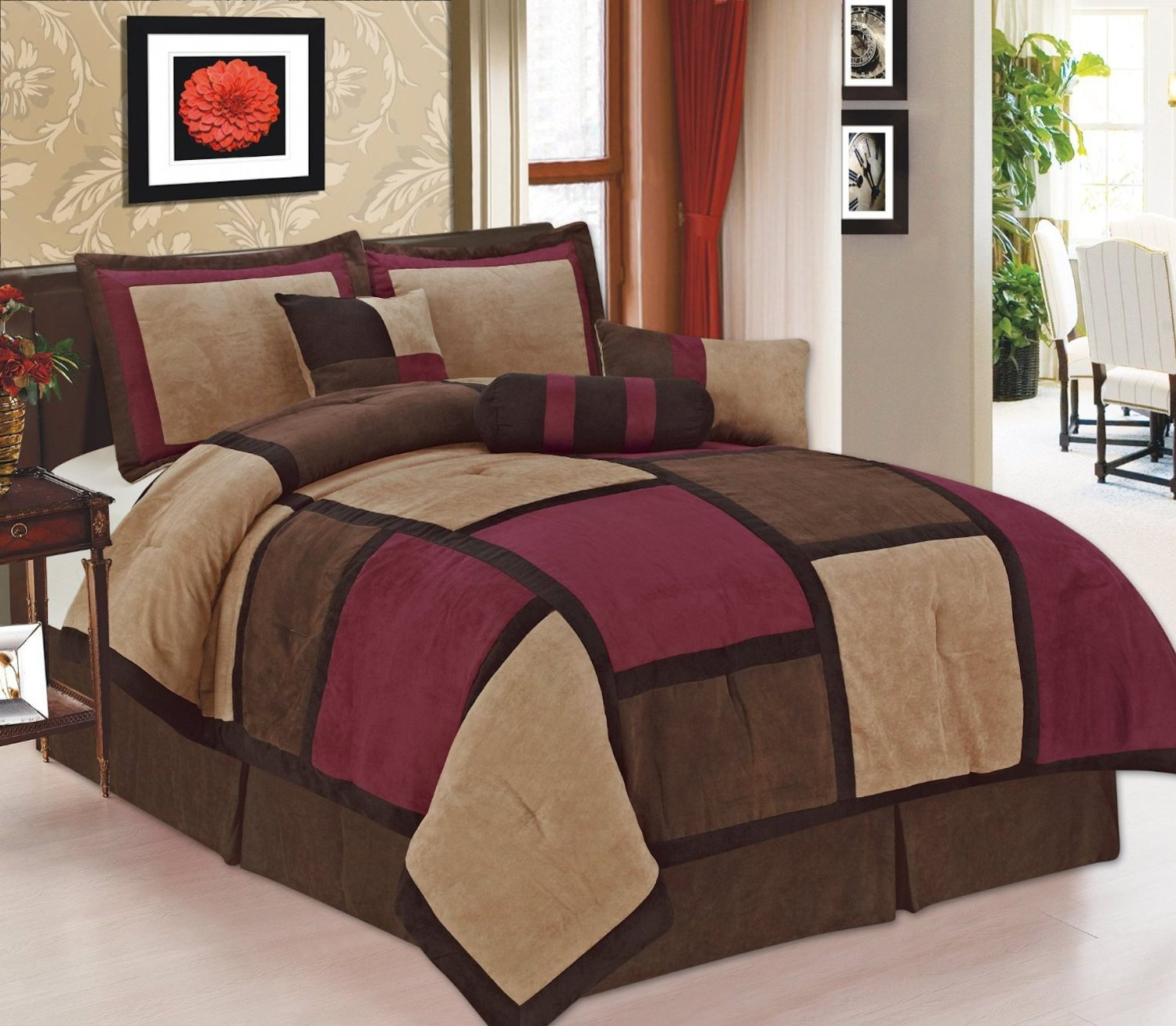 Legacy Decor 7 Piece Brown Burgundy & Beige Micro Suede Patchwork Comforter Bed-in-a-bag Set Washable Queen Size