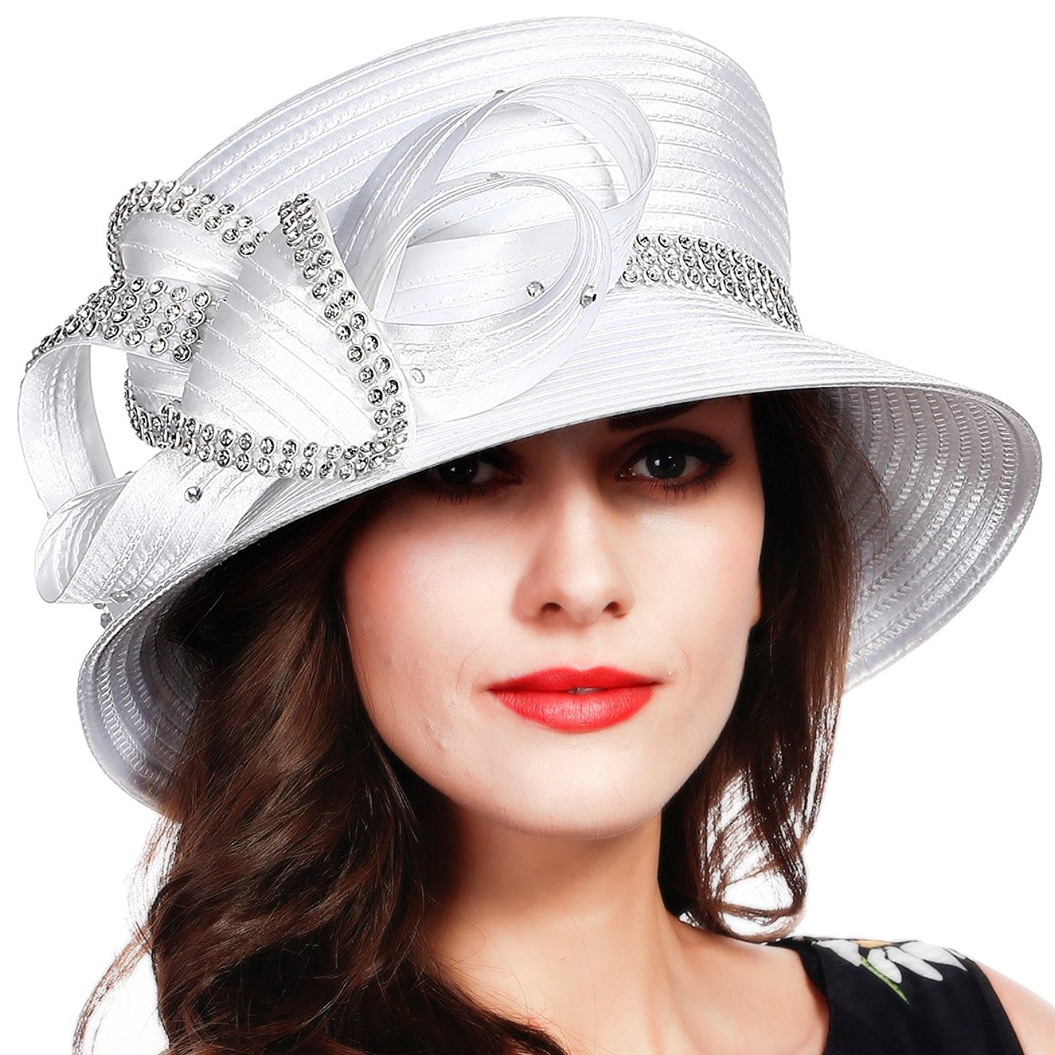 255e08f733d Get Quotations · FORBUSITE Rhinestone Satin Braid Church Hats Party Hat For  Womens SD707
