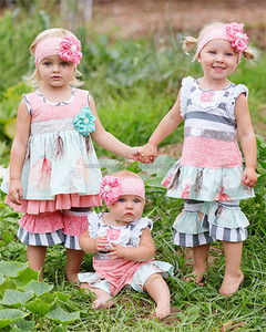 Summer and spring clothing set girls clothing wholesale children boutique clothing