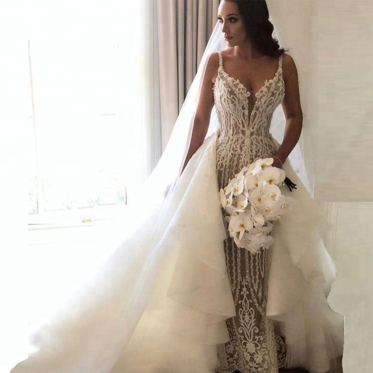 Sexy Lace Spaghetti Strap Mermaid Wedding Dress With Detachable Train Bridal Gowns 2020