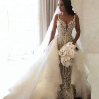 Sexy Lace Spaghetti Strap Mermaid Wedding Dress With Detachable Train Bridal Gowns 2018