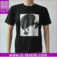 supply professional OEM service black cotton custom fashion tshirt with your idea printing(LCTT0058)