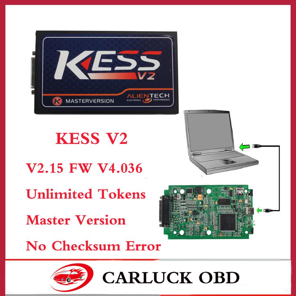 Dhl бесплатно новый V2.15 Kess V2 экю чип комплект Kess V2 OBD2 менеджер без ограничения маркеров Kess V2 мастер fw v4.036