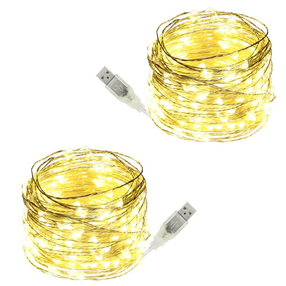 USB Led String Lights,ER CHEN(TM) 200 Leds 66Ft Waterproof Silver Wire String lights for Bedroom, Patio, Party, Wedding, Christmas Decorative Lights(Warm White,2-Pack)