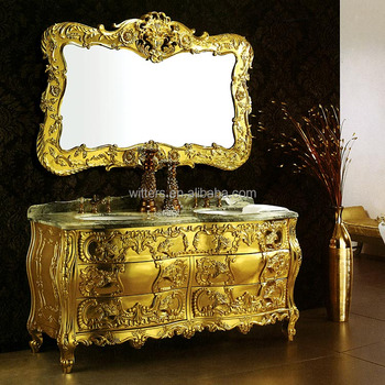 Luxury Royal Solid Wood Golden Bathroom Vanity Traditional Custom Made Ensuite Gold Leaf Double Sink