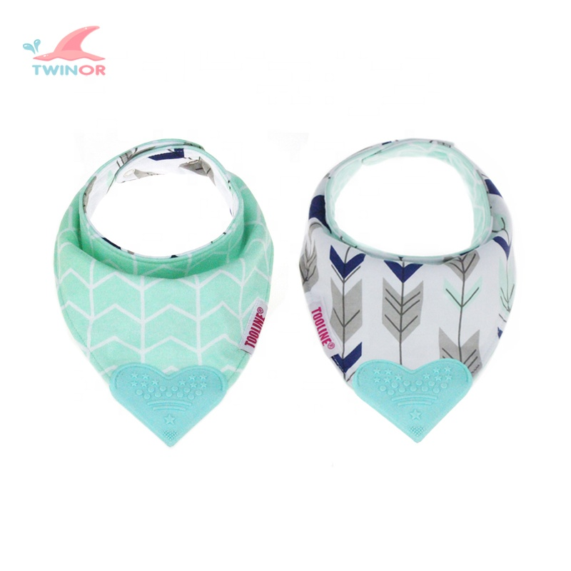 Wholesale custom unique design double sided printing reversible baby bib with heart shape teether
