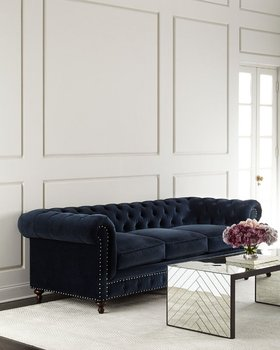 Navy Blue Cotton Velvet Upholstery Clic Chesterfield Style Sofa 3 Cushion Tufted Living