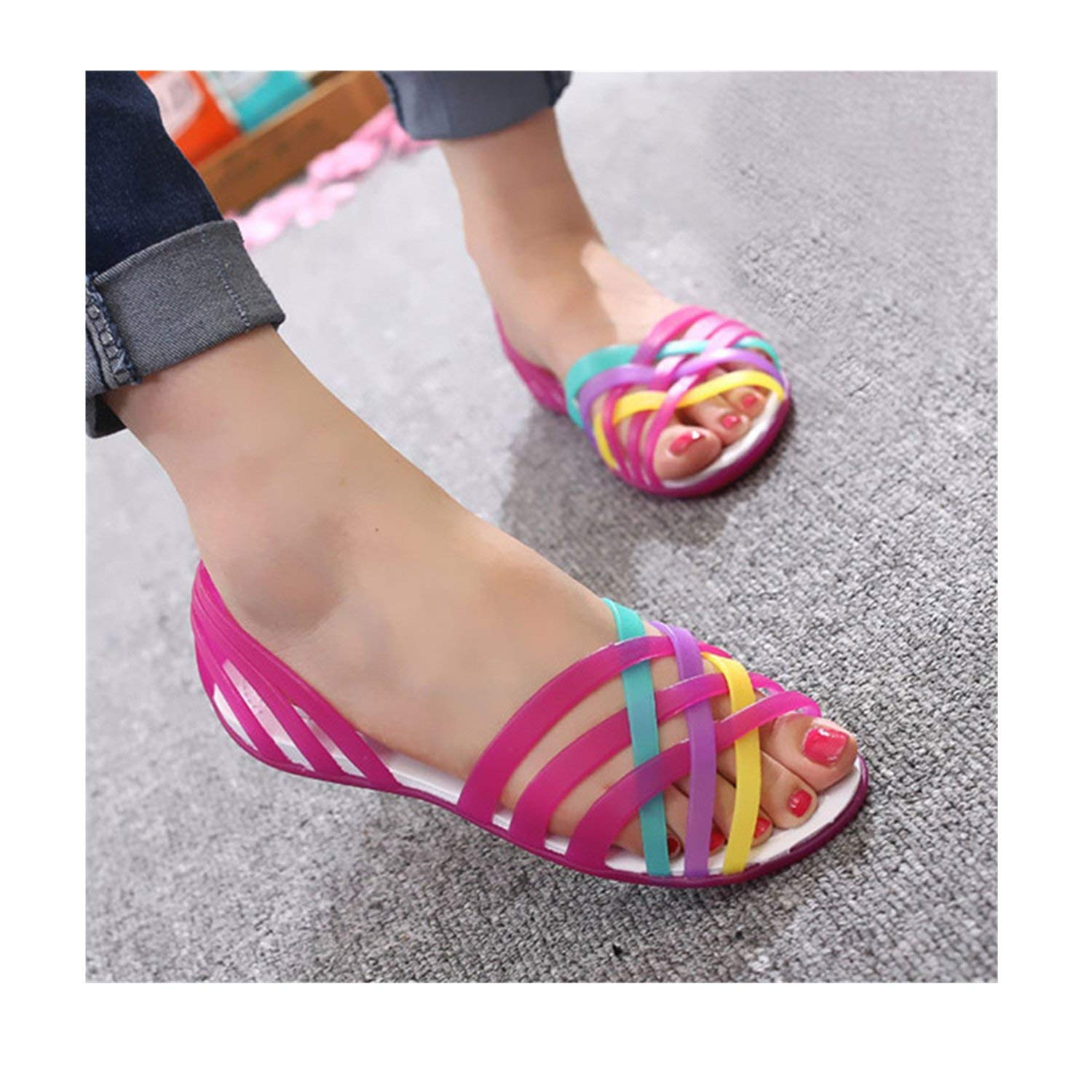f10ba1e3d3f Get Quotations · Saneoo Women Sandals Summer New Candy Color Women Shoes  Beach Valentine Rainbow Croc Jelly Shoes Woman