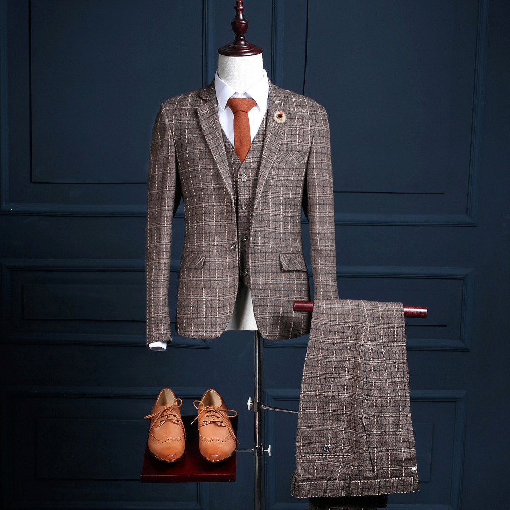Latest Coat Pant Plaid Mans Formal Party Wear Achkan Tuxedos Suit (Coat+Pants+Vest) NA23 Male Ternos Casamentos Free Shipping