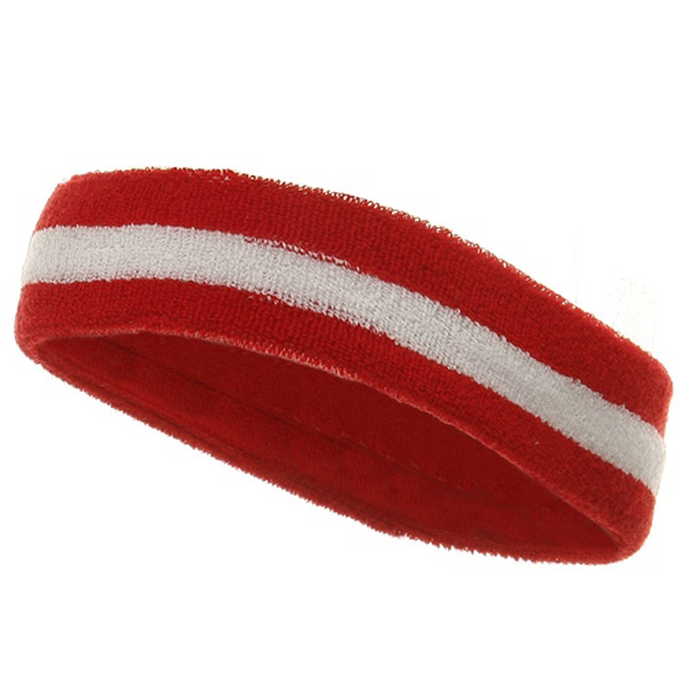 cf8d42e8dfb Get Quotations · Striped Cotton Terry Cloth Moisture Wicking Head Band (Red  White)