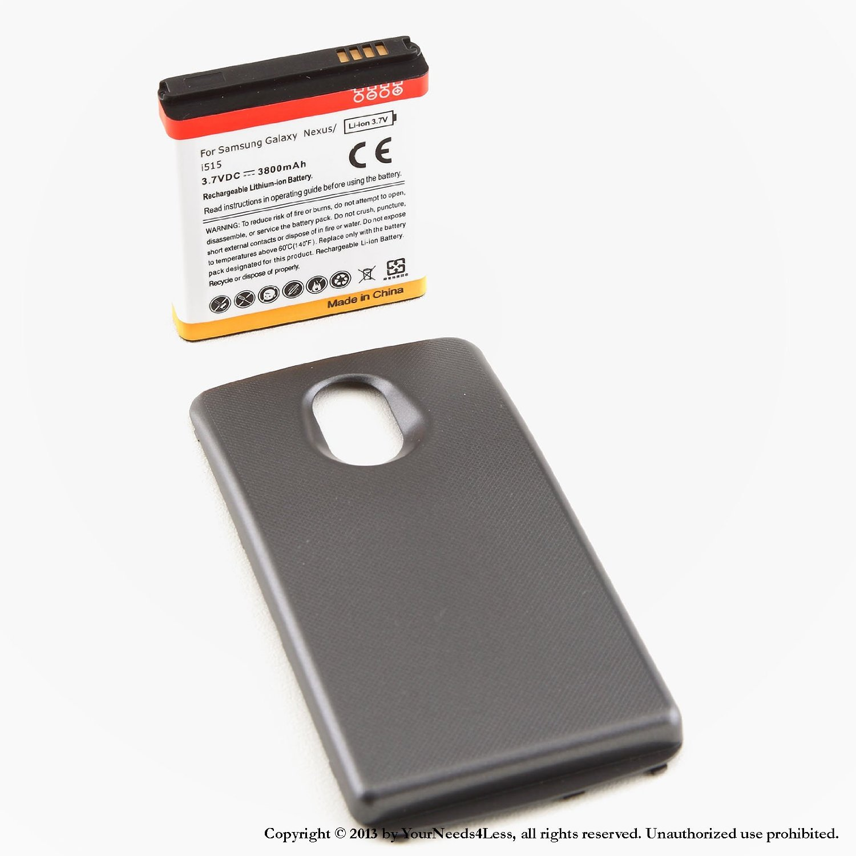 YN4L® 3800mAh extended battery for Samsung Galaxy Nexus i515 Verizon + Black cover
