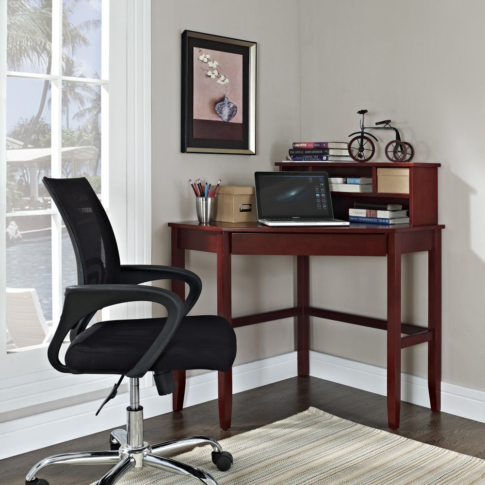 Corner Laptop Writing Desk with Optional Hutch - Cherry