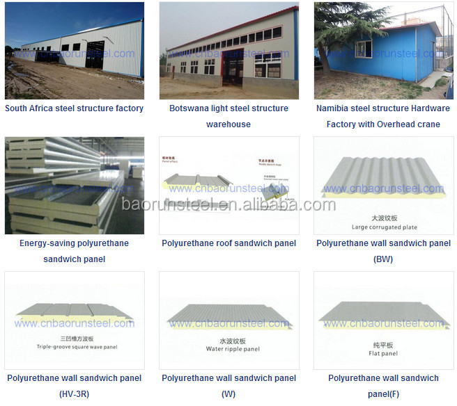 Big span sandwich panel and corrugated steel structure prefabricated shed