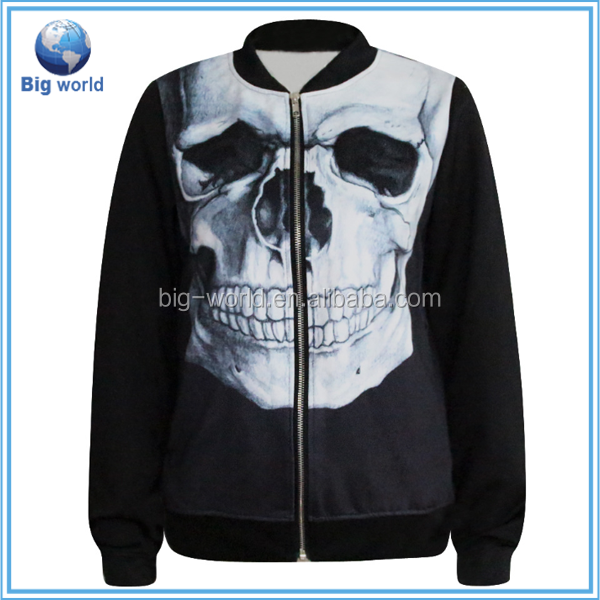Hot autumn 2015 fashion zipper Sweatshirts luminous fluorescent Men's Clothing Skull outdoor sports Hoody 3D Sweatshirt