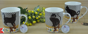 11OZ black cat with lace design overall decal printed coffee cups, shiny surface porcelain mug, KL5004-162