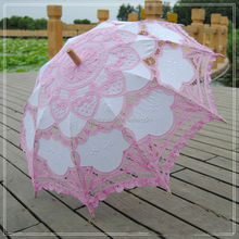Cheap lace pink wedding parasol