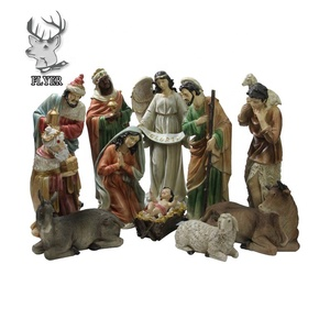 Religious family resin nativity set life size christmas nativity set statue for decoration