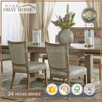 French Style Nature Fabric Wedding Chairs Oak frame Dining chairs wholesale
