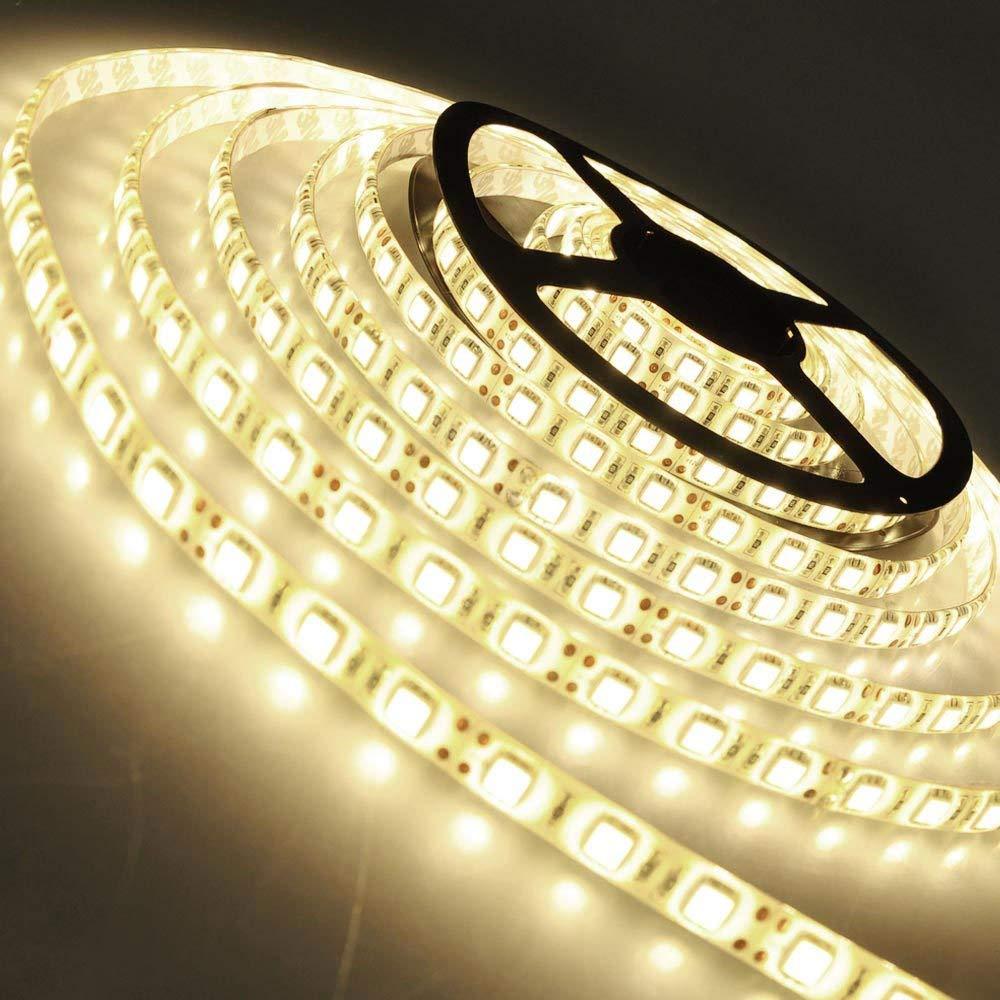 Autolizer 16.4ft LED Light Strip - Warm White 300 LEDs - SMD 3528, Cuttable 12V Non-Waterproof, Lighting String, LED Tape, LED Ribbon