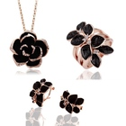 Popular Necklaces Earrings Rings Enamel Rose Flower Jewelry Set