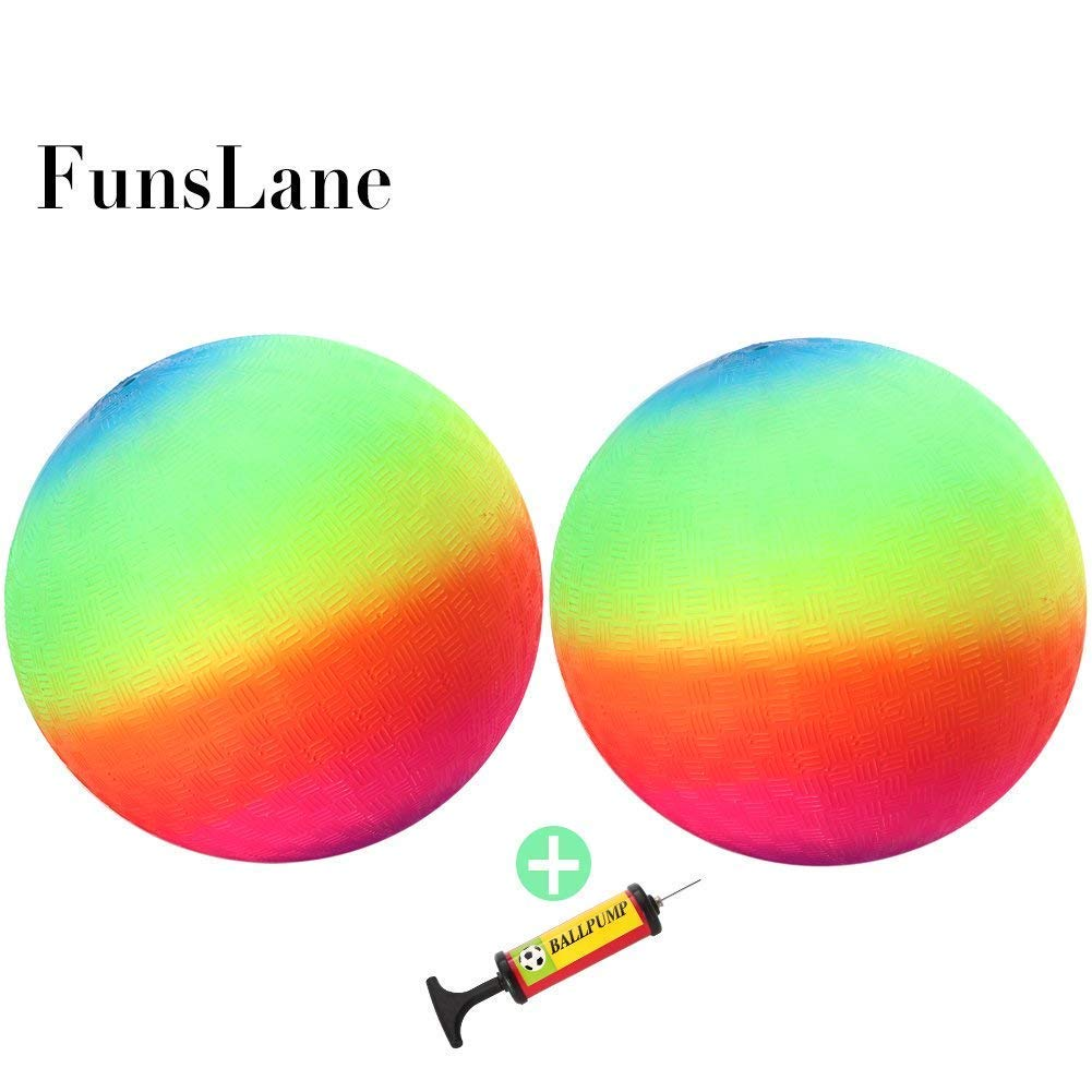 "FunsLane 9"" Playground Rainbow Ball With 1pcs Pump (2 pack), Inflatable Dodge Ball Sport Balls Rubber Play Ball Handball for Kids Outdoor & Backyard Games, School & Gym Class"
